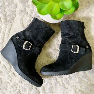 UGG Gisella black suede wedge boots